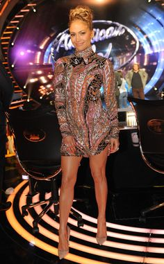 Hippie Chic from Jennifer Lopez's American Idol Looks J.Lo goes boho! The star paired her printed Emilio Pucci mini with a braided updo.