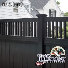 V3701-6 6' high Tongue and Groove Vinyl Privacy fence with Framed Victorian Top and New England Post Caps in Grand Illusions Color Spectrum Black (L105). Find a fence that matches your house perfectly with Grand Illusions 35 different colors and 5 different wood grains.