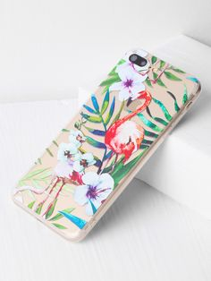 0bc863a620 Shop Flamingo And Leaf Print Clear iPhone 6 Plus Case online. SheIn offers  Flamingo And Leaf Print Clear iPhone 6 Plus Case & more to fit your  fashionable ...