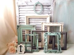 Mint Green Cream and Gray Painted Vintage by WillowsEndCottage