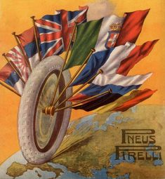 Pubblicità originale 1916 PNEUS PIRELLI Pneumatici Bandiere Advert werbung old Poster Vintage, Fiat, Red And White, Automobile, Motorcycles, Art Deco, Italy, Board, Artwork