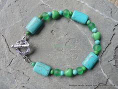 Turquoise and howlite bracelet. www.facebook.com/bubbasbeads