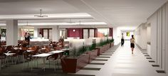 3D architectural rendering of the Federal Reserve, Boston cafeteria.
