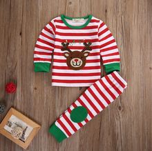 Kids Baby Boys Girls Clothes Tops Pants Striped Outfits Cotton Pajamas Sleepwear Set Christmas Gift Boy Girl Kids(China (Mainland))