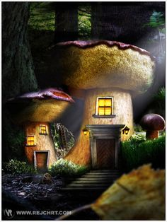 Fantasy Worlds - I know they're not real… but wouldn't it be awesome if they were? Mushroom House, Mushroom Art, Fantasy Places, Fantasy World, Gnome House, Land Of Enchantment, Environment Concept Art, Fairy Art, Fantastic Art