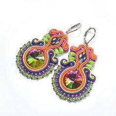 Soutache earrings, colorful soutache, oriental jewelry, boucles d'oreilles, soutache pendientes, multicolor earrings, christmas gift for her - pinned by pin4etsy.com