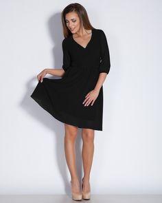 Черна дамска рокля - Zena #Ефреа #online #онлайн #пазаруване #дрехи #рокля #разкроена #шифон #черна