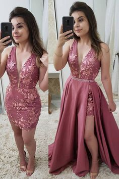 Beautiful Fashion Deep V Neck Lace Detachable Skirt Fancy Prom Dresses Formal Evening Grad Dress Fancy Prom Dresses, Best Formal Dresses, Grad Dresses, Pretty Dresses, Homecoming Dresses, Beautiful Dresses, Short Dresses, Bridesmaid Dresses, Formal Skirt