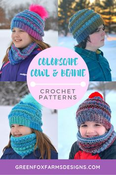 81a32445826 Colorscape Cowl and Beanie Crochet Patterns make for a super cozy set!  Designed for use