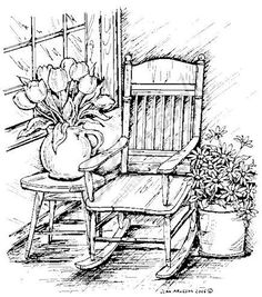 Northwoods – Spring Porch Rocker – free printables of verses - Malvorlagen Mandala Landscape Pencil Drawings, Pencil Art Drawings, Art Drawings Sketches, Easy Drawings, Colouring Pages, Coloring Books, Wood Burning Art, Painting Patterns, Pyrography