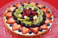 Mom's Easy Fruit Tart Recipe From Scratch! lol This is my easy fruit tart recipe with filling and glaze. I use a delicious and simple shortbread crust recipe for this, which… Tart Recipes, Gourmet Recipes, Dessert Recipes, Cooking Recipes, Cooking Videos, Fruit Recipes, Easy Fruit Tart, Fruit Tarts, Wegmans Recipe