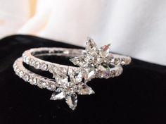 Double Star Rhinestone Coil BraceletWedding by WhiteHotRhinestones #prom jewelry