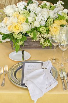 La Tavola Fine Linen Rental: Hemstitched White Napkin with Dupionique Lemon