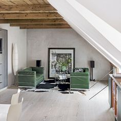 A Danish home, grey walls, exposed beams via Livingetc