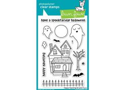 This set of 13 clear stamps will add some ghostly fun to your Halloween. Craft a spooky scene with cute ghosts, a haunted house, bats, and more! Coordinating Lawn Cuts: Happy Haunting Lawn Cuts custom