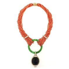 Henry Dunay Estate Diamond, Jade and Coral Necklace. Available exclusively at Macklowe Gallery.