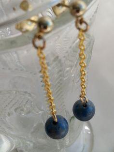 Lapis Lazuli SemiPrecious Gemstone Earrings on by RoseTeaAndRabbit