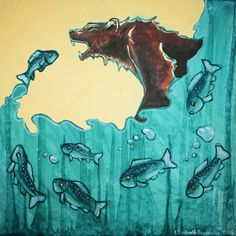 Grizzly Bear Fishing Original Oil Painting by ElizabethJJancewicz