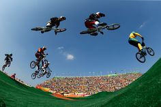 ) Anthony Dean of Australia, Corben Sharrah of the United States, Carlos Alberto Ramirez Yepes of Colombia, Luis Brethauer of Germany,Carlos Mario Oquendo Zabala of Colombia,Jelle van Gorkom of the Netherlands, David Graf of Switzerland and Nicholas Long of the United States compete during the Men's Semi Finals on day 14 of the Rio 2016 Olympic Games at the Olympic BMX Centre on August 19, 2016 in Rio de Janeiro, Brazil.