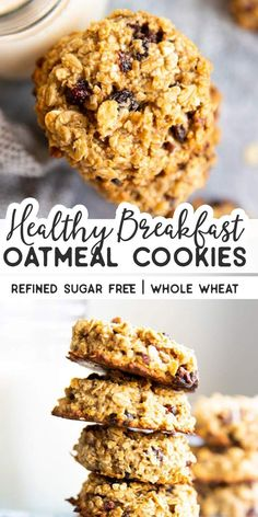 Whip up a batch of these Cranberry Walnut Oatmeal Breakfast Cookies if you're in need of a quick and healthy snack for the kids. They are refined sugar free, gluten free (if using certified gf oats) and made with all wholesome ingredients. Oatmeal Breakfast Cookies, Healthy Oatmeal Cookies, Breakfast Cookie Recipe, Sugar Free Oat Cookies, Cranberry Oatmeal Cookies, Healthy Cookies For Kids, Healthy Breakfast Desayunos, Healthy Breakfasts, Healthy Breakfast On The Go For Kids