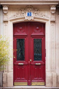 Paris Photograph - Red Door Number Three by ParisPlus on Etsy.
