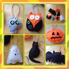 Halloween Felt Felties Creatures ghost pumpkin skull owl bat cat orange black decorations on Etsy, £3.50