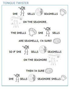 Tongue twister _ She sells seashells _ easy _ short _ kids _ english _ language _ learning