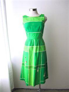 SOLD: M 60s Tennis Novelty Print Dress Green Cotton MCM Mod Green White Sundress…