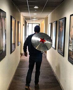 Sebastian Stan with his new shield | November 28, 2016 | Sebastian Stan Instagram