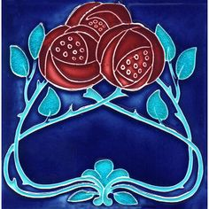 Historic Tiles - Moulded Art Nouveau Tiles - Burgundy Rose Trio