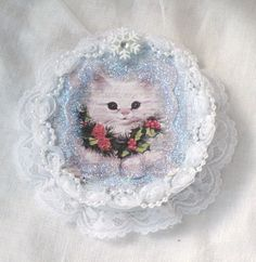 ORNAMENT Blue White Vintage Image Kitty Cat by RoseChicFriends, $6.50