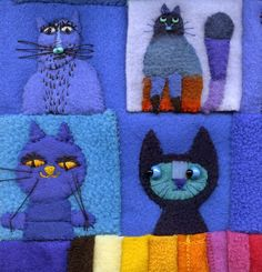 Cat Crafts, Crafts To Sell, Sewing Crafts, Sewing Projects, Wool Applique, Flower Applique, Cat Quilt, Textiles, Felt Cat