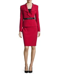 Long-Sleeve Ruffled-Front Belted Skirt Suit  by Albert Nipon at Neiman Marcus.