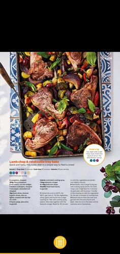 WW lamb chop and ratatouille tray bake Healthy Lamb Recipes, Lamb Chops, Feeding A Crowd, Ratatouille, Tray Bakes, Simple Way, Fries, Tasty, Beef