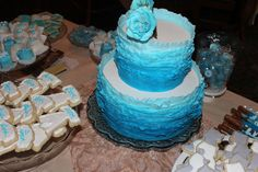 Ombre Ruffle Cake at a blue and white bridal shower #ombreruffles #bridal