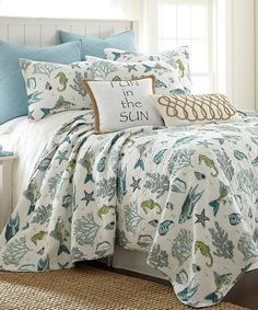 Look what I found on #zulily! White & Blue Byron Bay Sea Glass Quilt Set #zulilyfinds