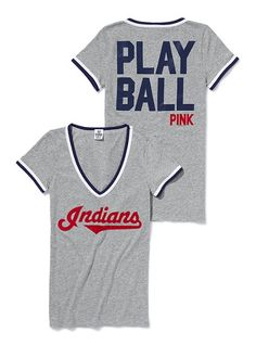 "VS PINK Major League Baseball V-neck Tee, $32.50. #281-192. Purchase in ""Cleveland Indians"" (shown)."
