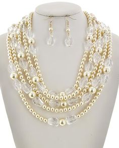 Gold Tone / Clear Acrylic & Cream Synthetic Pearl / Lead&nickel Compliant / Fish Hook (earrings) / Multi Row / Necklace & Earring Set