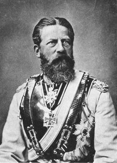 1st child & only son of Kaiser William I (1797–1888) of  the House of Hohenzollern & wife Augusta (1811-1890) of Saxe-Weimar-Eisenach & Husband of Princess Victoria (1840-1901). Frederick III (1831-1888) German Emperor &  King of Prussia (1831-1888) by Reichard & Linder 1875. Frederick III & Victoria Children: William, Charlotte, Henry, Victoria Moretta, Sigismund, Waldemar, Sophie, Margaret.  Died of throat cancer 1888.