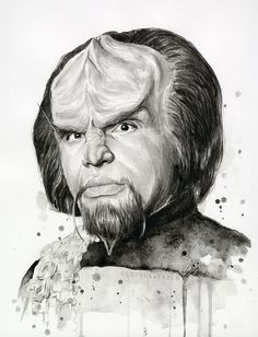 Worf portrait - Start Trek Fan Art - Sci-Fi ART PRINT  Giclee Art Print of my original watercolor painting of Worf    - High quality archival