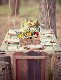 Festliche Dekoration-Ideen Herbst Garten-Tisch Set
