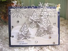 By stamping with Bibiana: winter christmas card using  the twirly whirly tree die from Poppystamps, sister company of Memory Box. card posted at the Spanish blog a crear se dijo. details at the blog