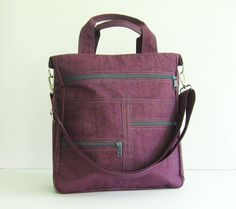Deep Plum Water-Resistant Nylon Bag - Melissa. $44.00, via Etsy.
