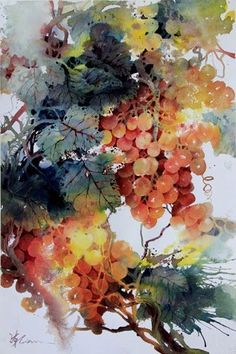 Lian Quan Zhen 'Orange Grapes', watercolour grapes on the vine Watercolor Negative Painting, Watercolor Fruit, Fruit Painting, Watercolor Artists, Watercolor Flowers, Painting & Drawing, Watercolour Paintings, Art Floral, Blog Art