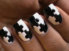Puzzle Nails Art Designs - Matte Nail Polish Designs Black And White Short / Long nails How To Do -  Buy White Matte Nail Polish from -  .http://www.bornprettystore.com/white-color-matt-dull-polish-nail-enamel-nail-polish-p-1027.html   Don't forget to use 10% site wide off with this coupon code- SWSK31!!!!