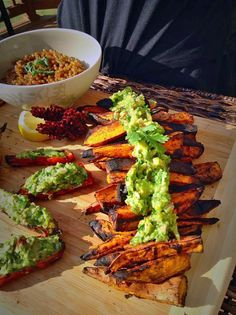 A perfect summer side, these Vegan Grilled Sweet Potatoes with Avocado Chimichurri Sauce hit the spot! By Kathryn Farrugia.
