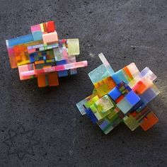 broches, plastic, recycled materials, silver, pigment; Dorota Kos jewelry+ small sculpture forms: