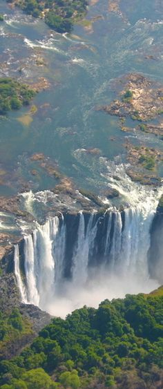Victoria Falls bordering Zimbabwe and Zambia in Africa.