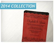 Red Black Rustic Lace Wedding Invitations