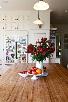 Love the metal door panels on fridge (might also put a metal panel on the pantry door - for the list!) & butcher block island